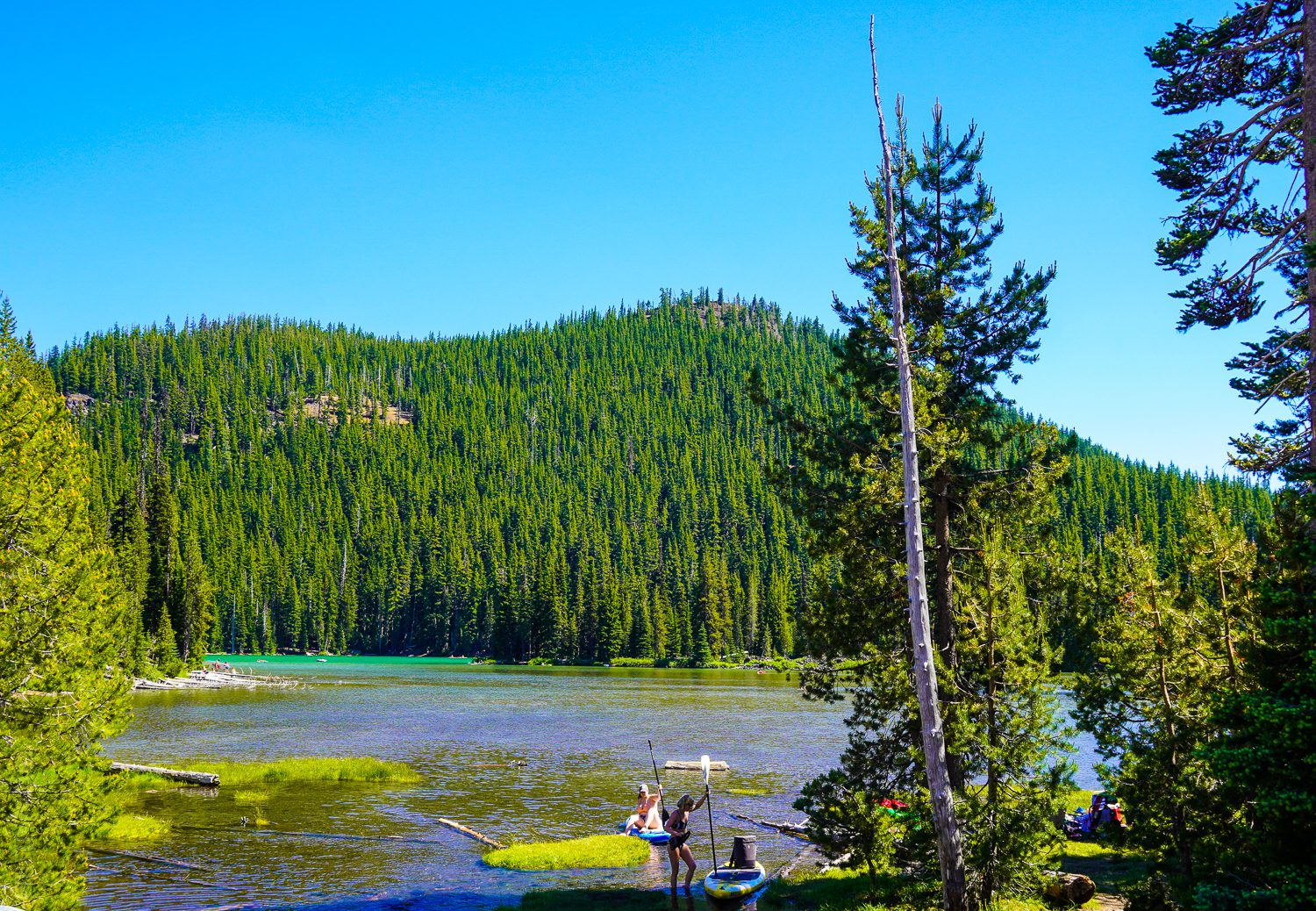 Sparks Lake, with hills surrounding.
