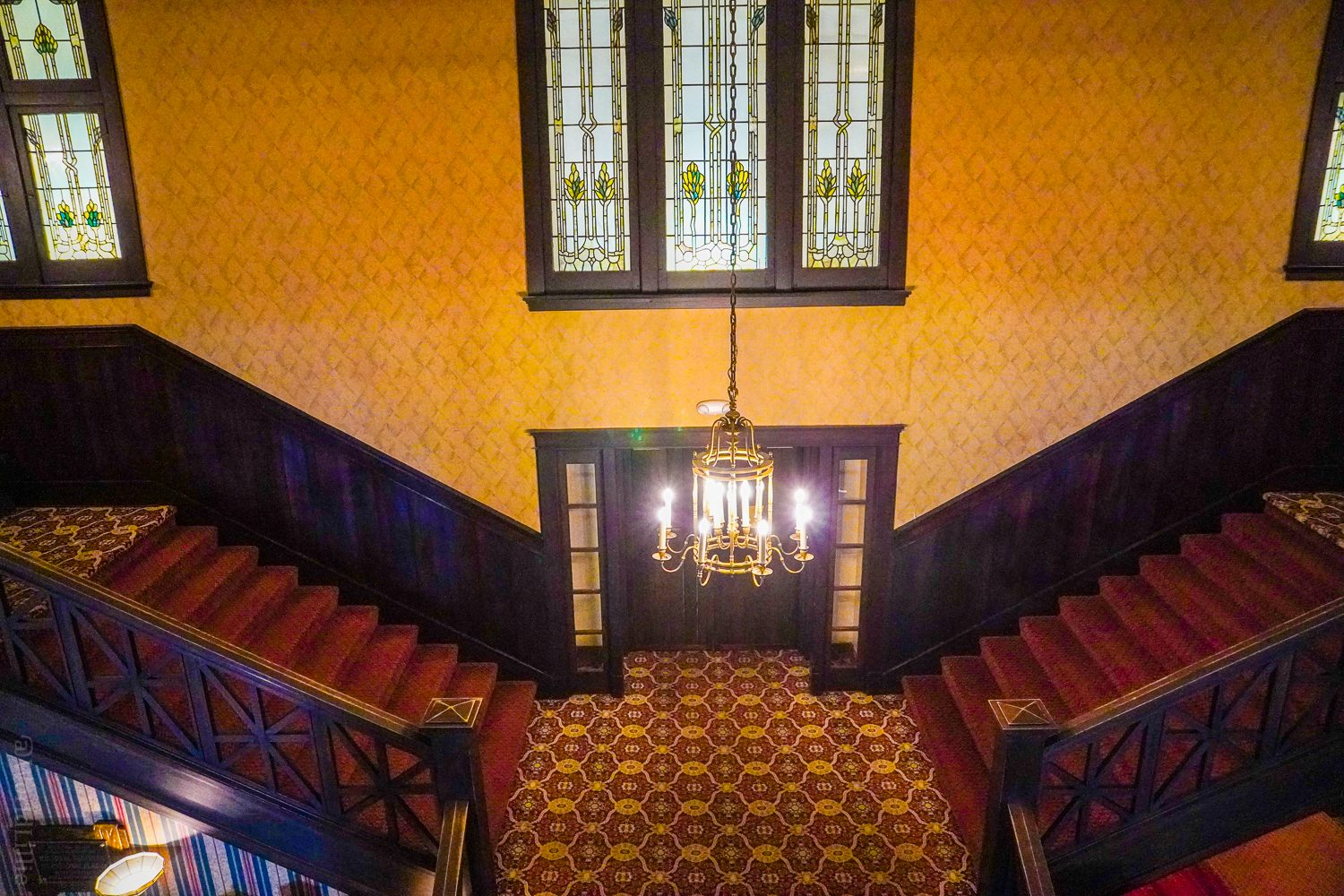 The impressive red staircase at the inn.