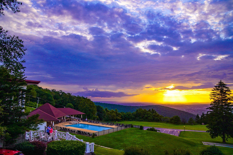 A purple sunset at the Historic Summit Inn.
