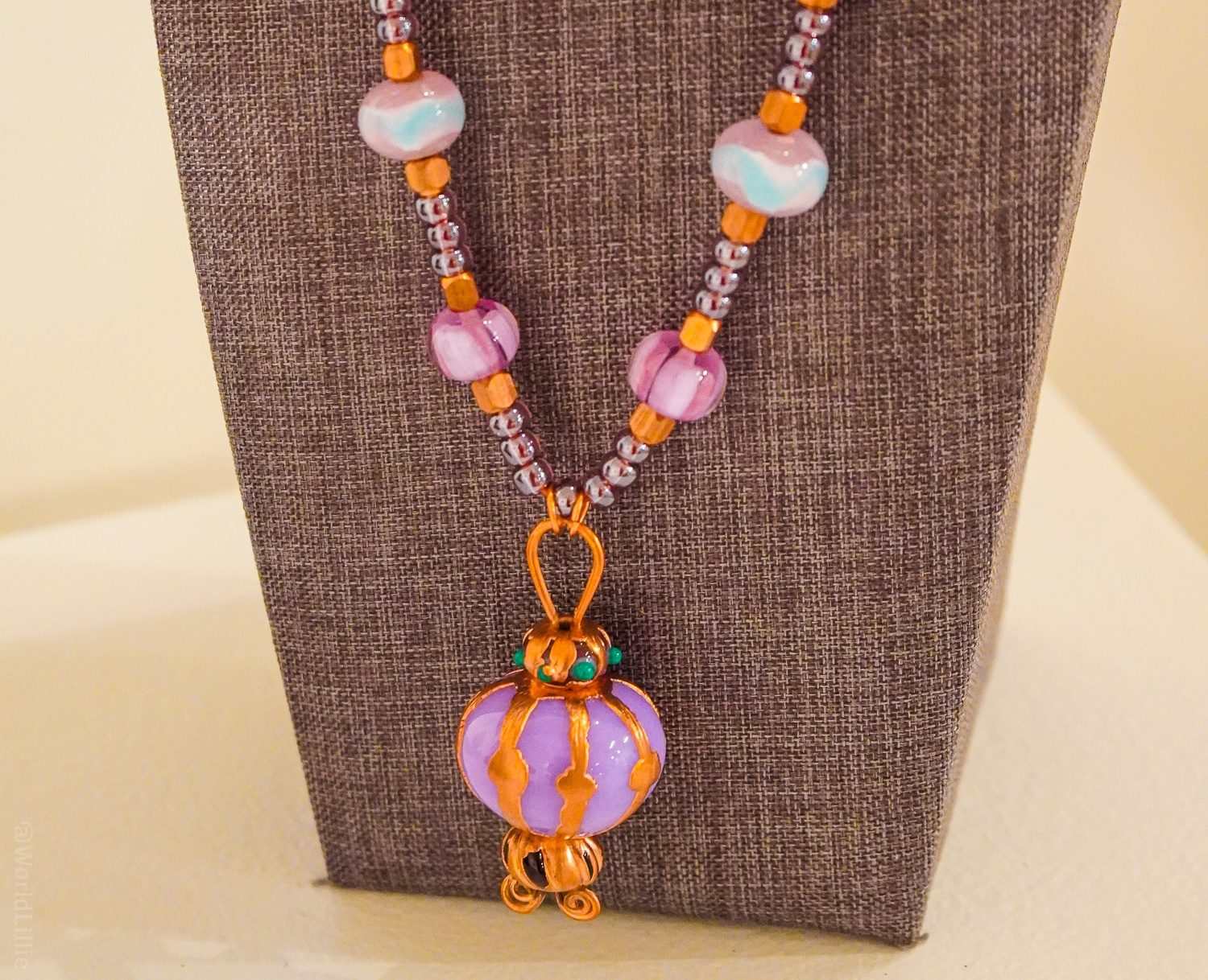 One of Joy's completed glass bead necklaces.