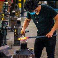 Working molten hot steel.