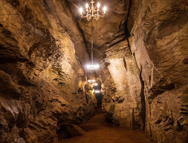Chandeliers in Laurel Caverns.