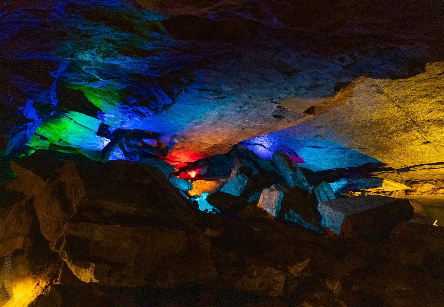The colored lights are beautiful touch in the caverns.