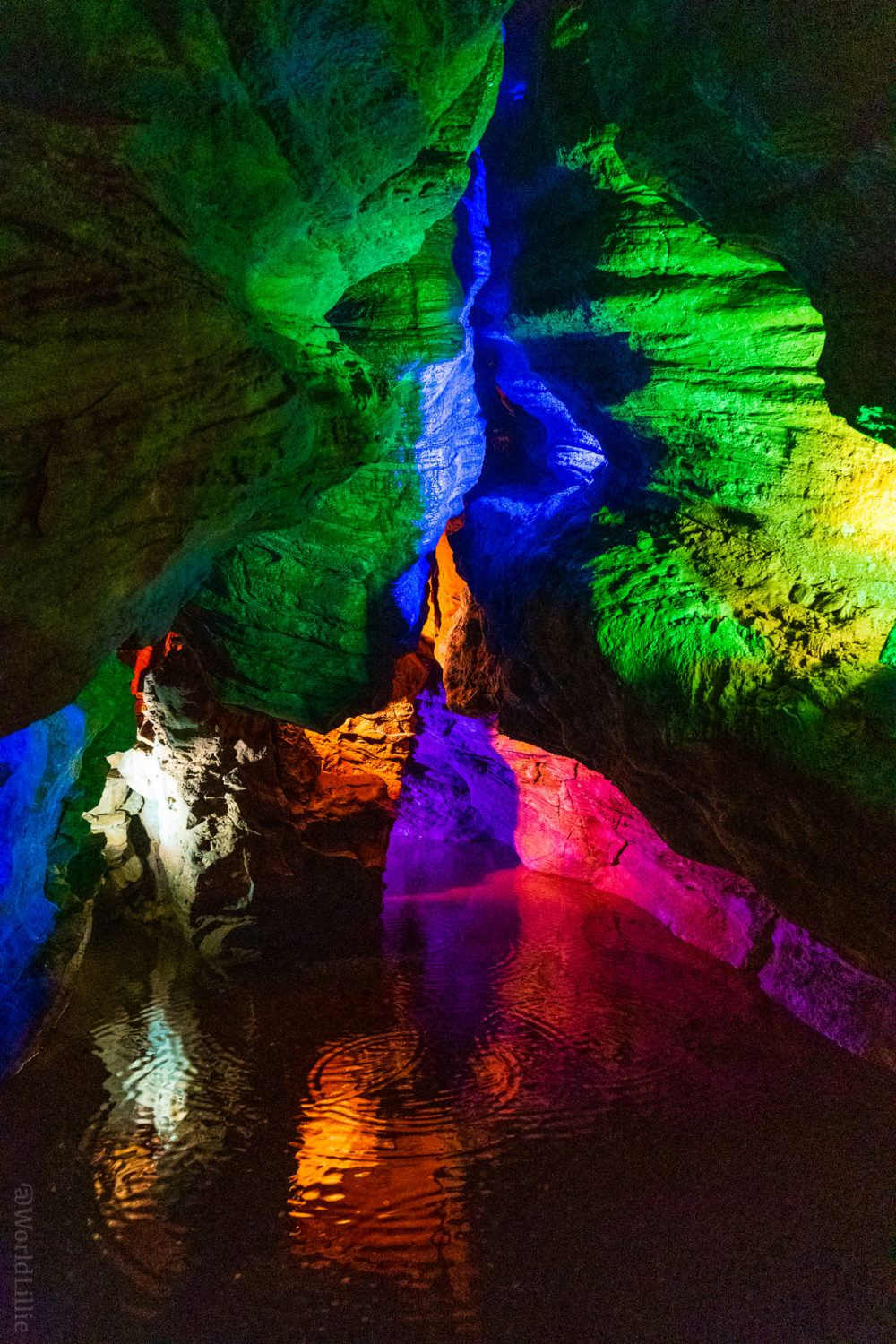 Laurel Caverns: lit with beautiful colored lights!
