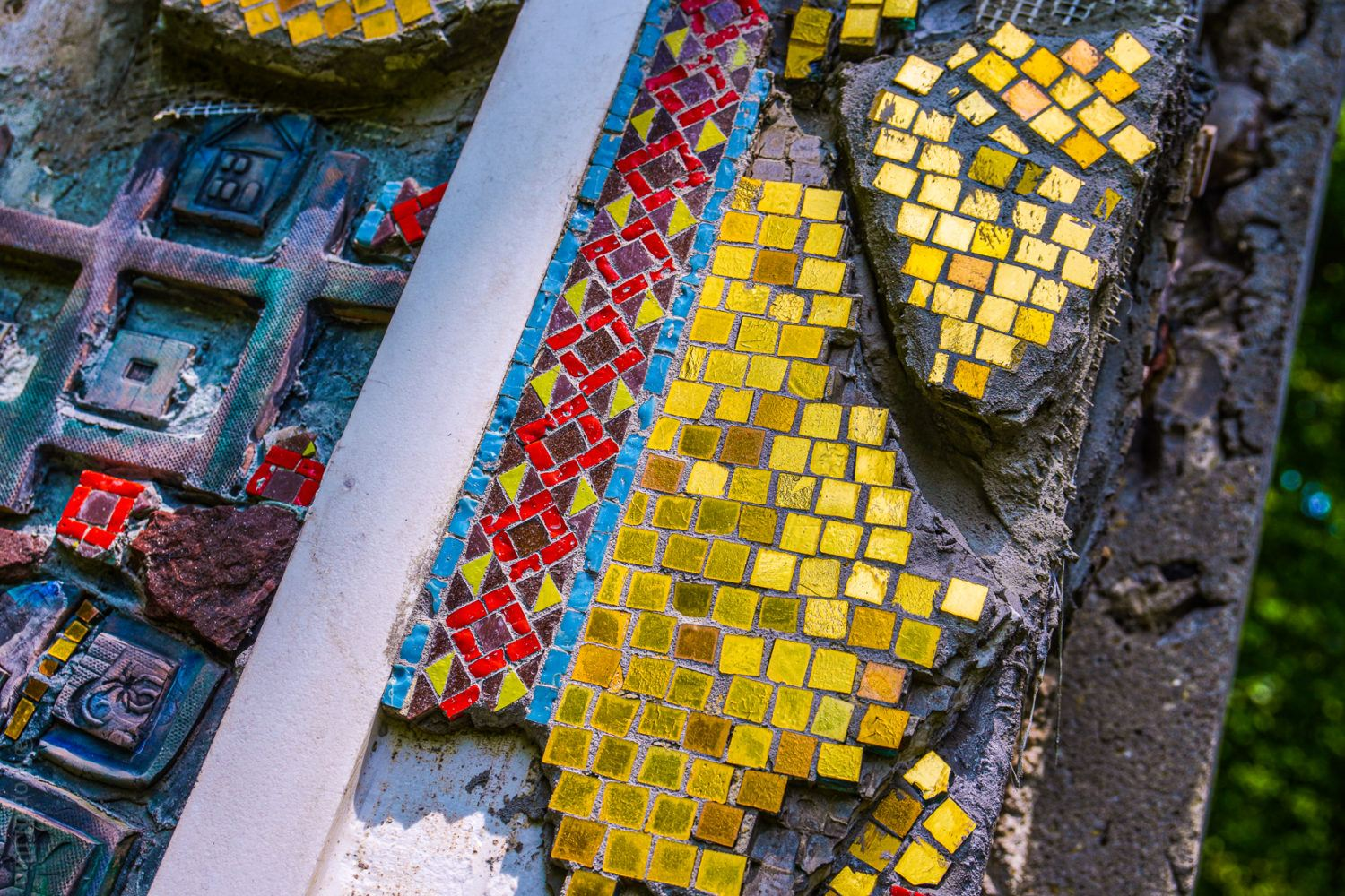Gold mosaic tiles salvaged from an old church.