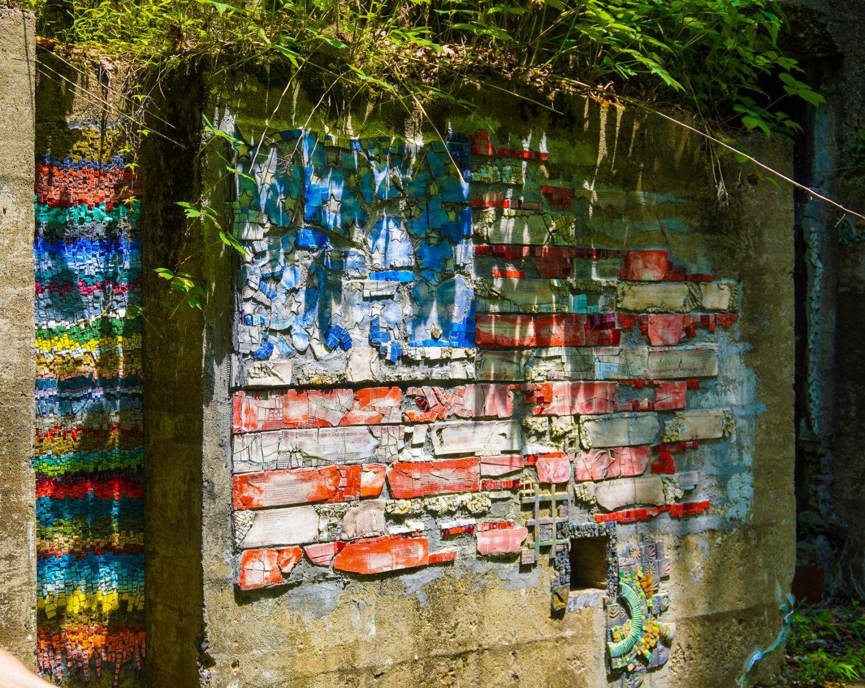An American flag mosaic.